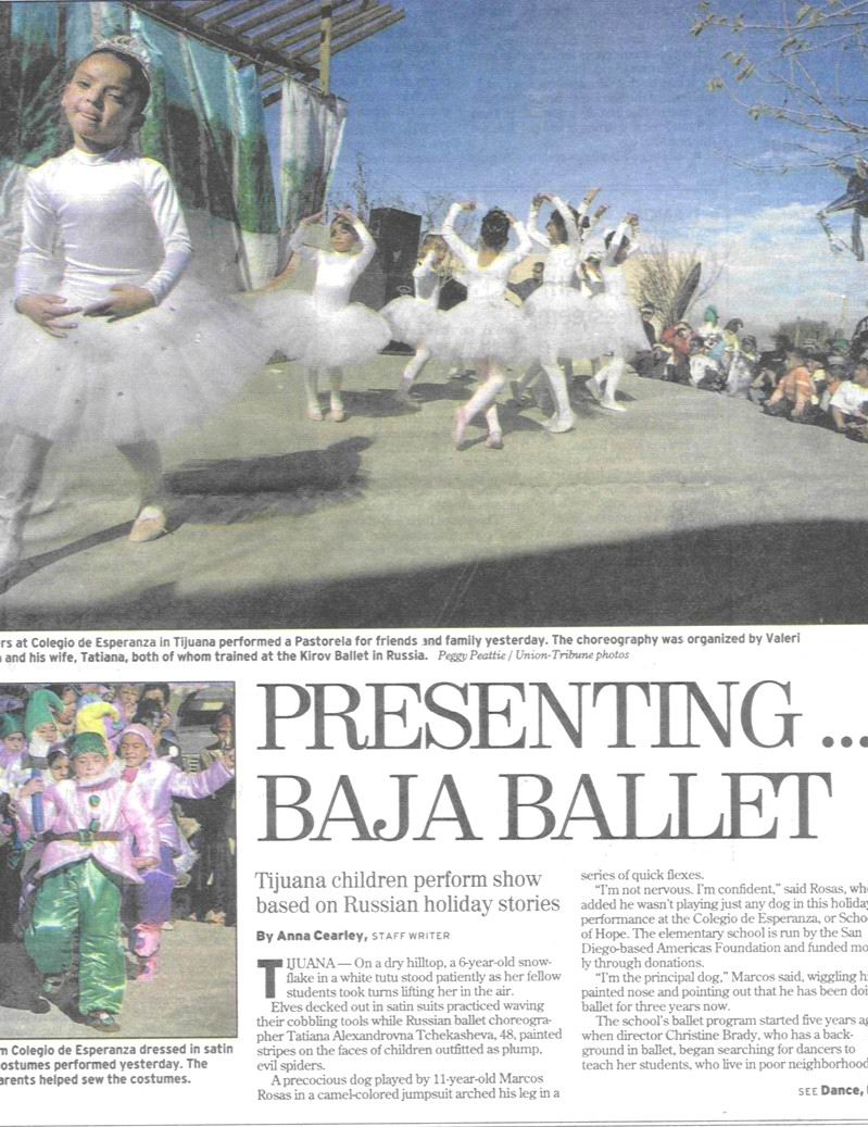 Baja Ballet San Diego Union Tribune article
